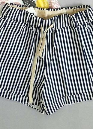 Новые хлопковые шорты в черно-белую полоску