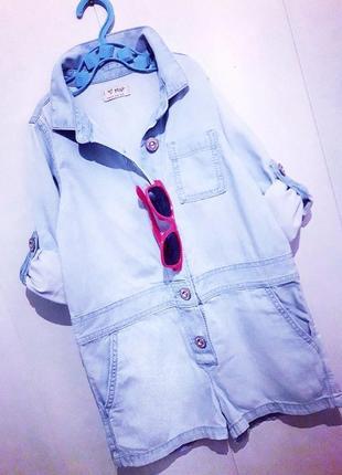Бомбезный джинсовый ромпер/комбез/комбинезон шортами с рукавами на пуговицах next.