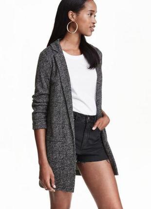 Длинный пиджак из джерси h&m 0320164004 серого цвета