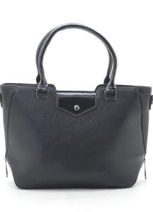 Женская сумка с лаковыми ручками 91599 черная