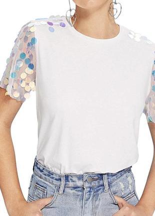 Новая футболка с пайетками romwe