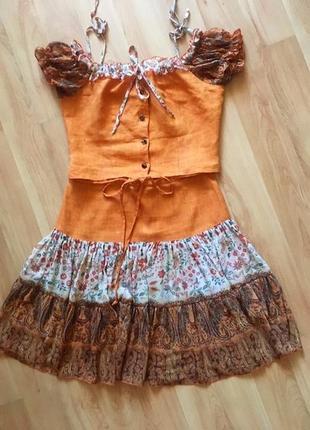 Шикарный льняной костюм (юбка, блуза,топ из льна) с шифоном