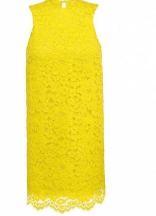 Желтое платье ажурное гипюровое платье платье трапеция