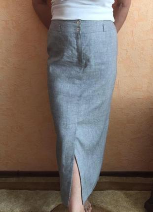 Длинная льняная юбка на подкладке
