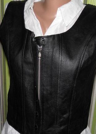 Кожаный женский жилет - milan -uk12/eu 40 - сток!!!