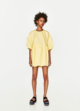 Zara лимонное платье- комбинезон, м-l