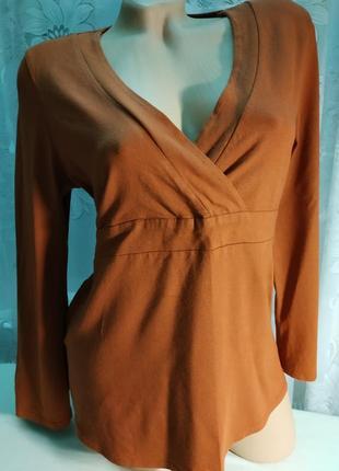 Блуза терракот коричневая трикотажная