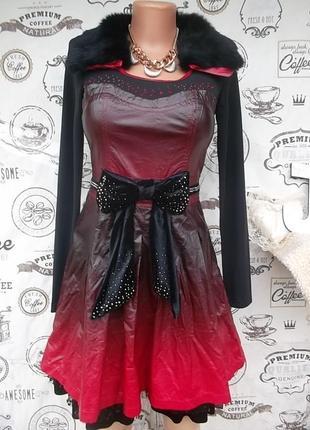 Оригинальное кожаное платье с натуральным мехом, размер с, новое
