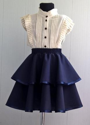 Тёмно-синяя школьная юбка. пышная юбка на резинке для девочек