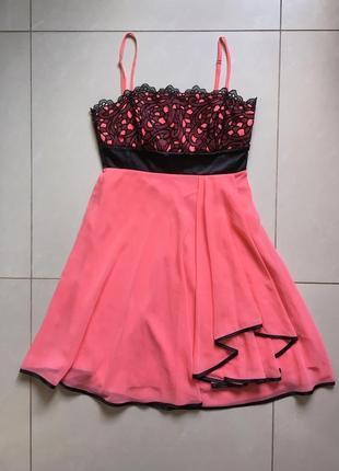 Коктейльное платье, коралл, лёгкая ткань, doridorca