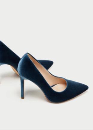 Бархатные лодочки голубые лодочки туфли на шпильке
