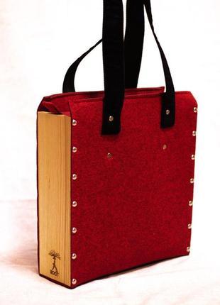 Оригинальная сумка из фетра и дерева
