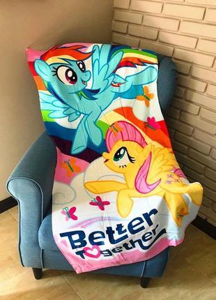 Пляжное детское полотенце  пони hasbro радуга и флаттершай для девочки 70x140 см