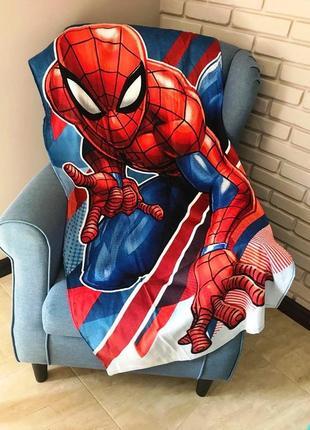 Детское пляжное полотенце спайдермен человек-паук 100% хлопок для мальчика 70х140 см