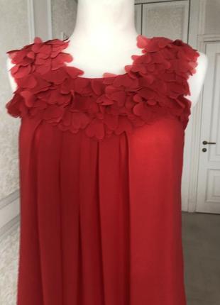 Платье красное, коралловое до колен, нарядное, выпускное, вечернее, летнее м4 фото