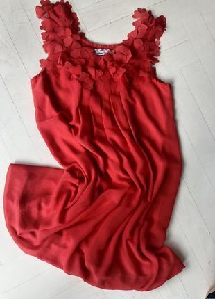 Платье красное, коралловое до колен, нарядное, выпускное, вечернее, летнее м5 фото