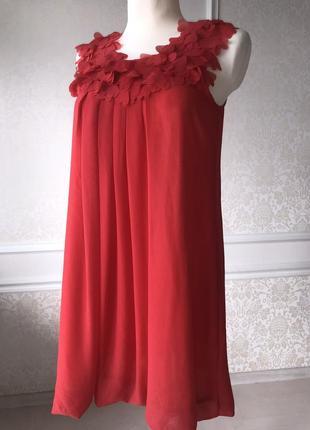 Платье красное, коралловое до колен, нарядное, выпускное, вечернее, летнее м