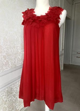 Платье красное, коралловое до колен, нарядное, выпускное, вечернее, летнее м2 фото