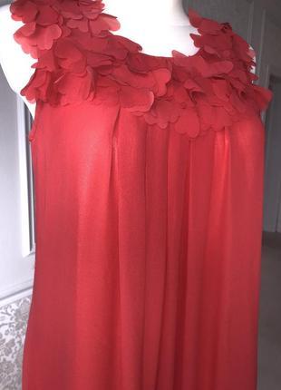 Платье красное, коралловое до колен, нарядное, выпускное, вечернее, летнее м3 фото