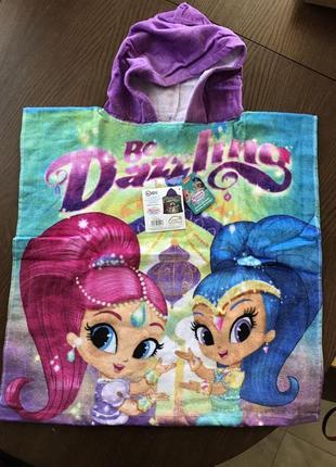 Пляжное полотенце-пончо с капюшоном шиммер и шайн для девочки 3-7 лет