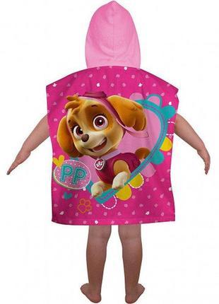 Пляжное полотенце пончо с капюшоном щенячий патруль скай, для девочки 2-6 лет