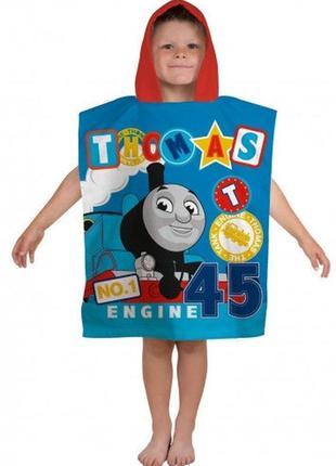 Пляжное полотенце пончо с капюшоном паровоз томас для мальчика 2-6 лет