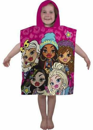 Пляжное полотенце пончо с капюшоном куклы братц bratz, для девочки 2-6 лет