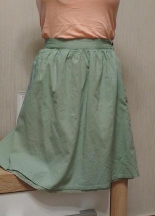 Хлопковая летняя юбка на талию
