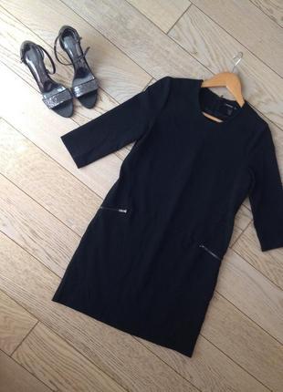 Черное платье с молниями mango