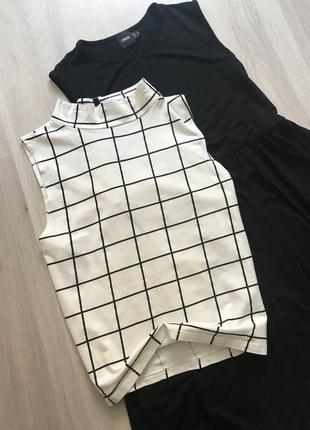 Трендовий топ з горловиною в чорно-білу клітку клетку котон new look m