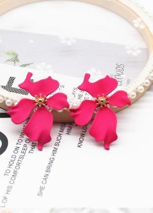 Серьги цветочек в стиле zara цветок розовый сережки