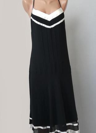 Черно белый сарафан платье