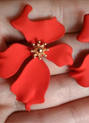 Серьги красные цветочек цветочки сережки2 фото