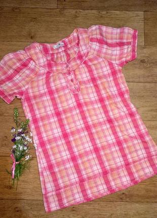 Рубашка в клетку розового цвета фирмы think