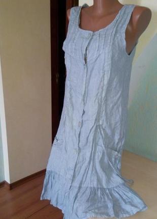 Летнее льняное платье сероголубого цвета из италии
