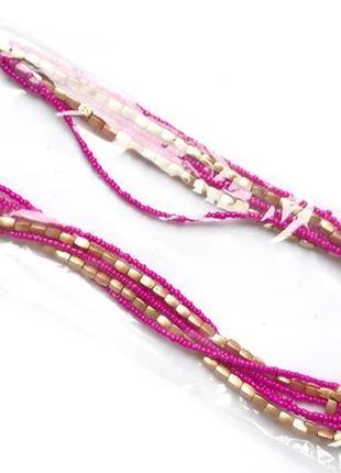 Простое малиновое ожерелье из бисера