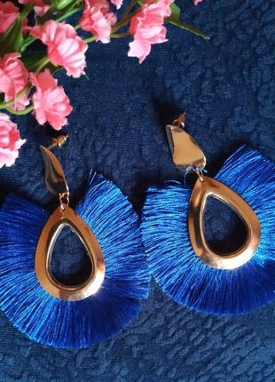 Серьги в стиле zara нити бахрома кисти синие сережки