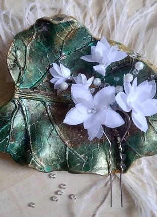 Шпилька для волосся з шифоновими квітами