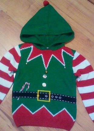 Рождественский свитер, костюм эльфа,гнома на 6-7 лет