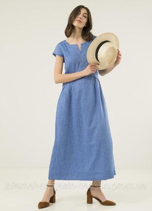 Шикарное платье из льна season голубое