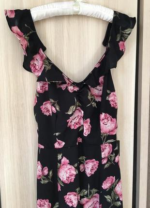 Шикарное легкое платье в пол с цветочным принтом
