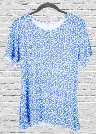 Голубая футболка свободная, летняя футболка с принтом