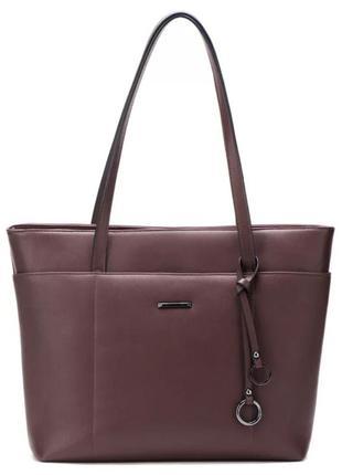 Большая женская модная сумка ecosusi кофейная коричневая для учебы ноутбука