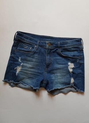 Стильные джинсовые шорты,короткие шорты с необработанным краем и потертостями,шорты h&m