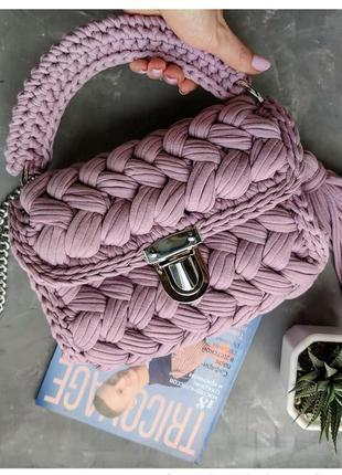 d332fd8469e3 Вязаная трикотажная сумка зефирка кроссбоди клатч через плечо ручная работа
