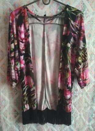 Накидка с бахромой, пляжная накидка, кардиган, кимоно цветочный принт