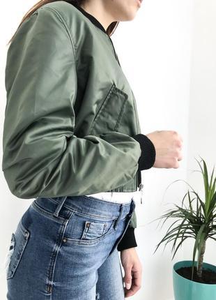 🔥скидка 🔥короткий бомбер хаки летняя куртка ветровка