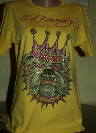 Дизайнерская стильная ярко-желтая футболка с камнями и стразами в декоре, размер m-l