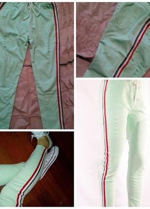 Женские летние брюки с прорезями укороченные с лампасом цвет мята