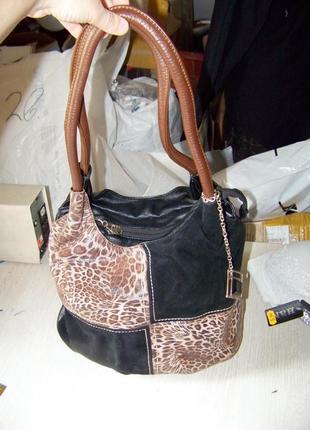 0f662746f477 Натуральная кожа-замш сумка farfalla rosso черно-коричнево-леопардовая
